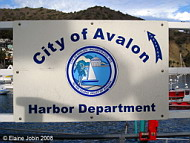 Avalon Harbor Department Sign, Photo by Elaine Jobin