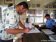 Jeff Bozanic files for our permit, Photo by Elaine Jobin